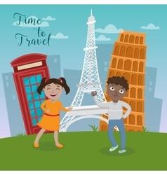 Happy children on travel vacations vector