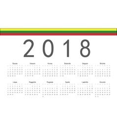 Lithuanian 2018 year calendar vector image vector image