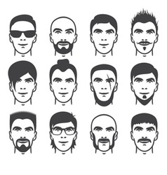 man faces set vector image