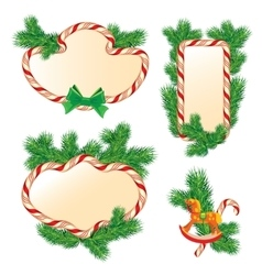 Set of fir-tree branches Candy frames and borders vector image vector image