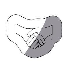 sticker sketch silhouette handshake agreement icon vector image