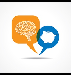 Brain and piggy bank in message bubble vector image