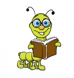 caterpillar holding book vector image vector image