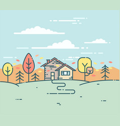 flat linear a suburban house in the autumn vector image vector image