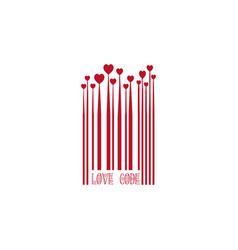 red bar code with heart shapes for valentines day vector image
