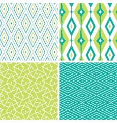 Set of green ikat diamond seamless patterns vector image vector image