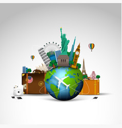 Travel of the world background vector