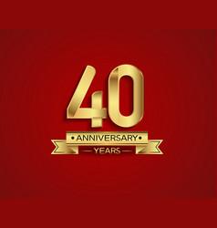 40 years anniversary golden design color vector