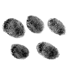 5 Black and White Fingerprints vector image