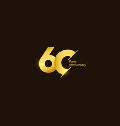 60 years anniversary celebration gold logo vector