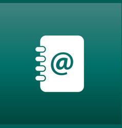 Address book icon email note flat on green vector