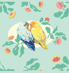Aqua blue pattern with love birds vector
