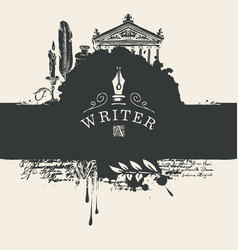 Artistic banner on a writers theme in vintage vector
