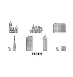 australia perth line travel skyline set vector image