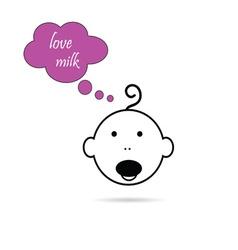 baby head love milk vector image