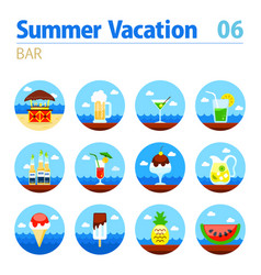 Bar beach icon set summer vacation vector