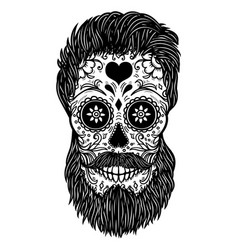 Bearded sugar skull design element for poster vector