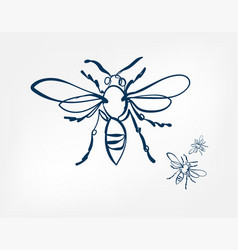 Bee wasp insect art line isolated doodle vector