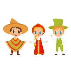 Big eyed kids characters wearing traditional vector