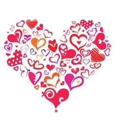 Big heart made many different heart symbols vector