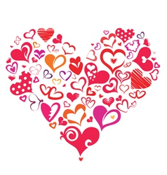 Big heart made of many differnt heart symbols vector