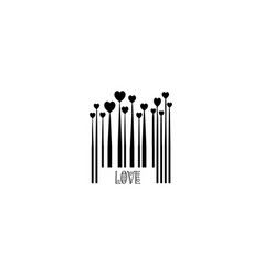 Black bar code with heart shapes for valentines vector