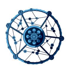 Blue dream catcher free spirit decoration ethnic vector