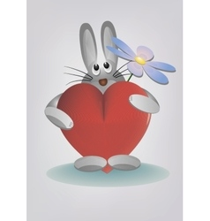 Bunny holding heart and flower vector image