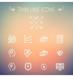 Business thin line icons vector image