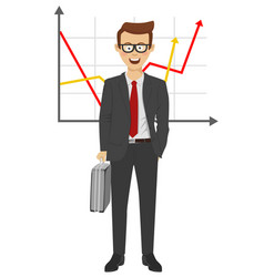 Businessman standing over positive business graph vector