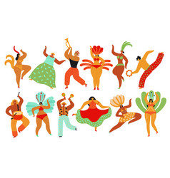 carnival dancers capoeira brazilian people vector image