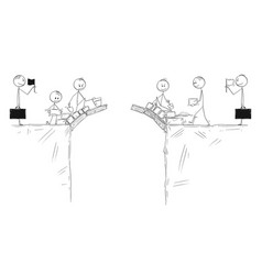 cartoon two groups men cooperate and vector image
