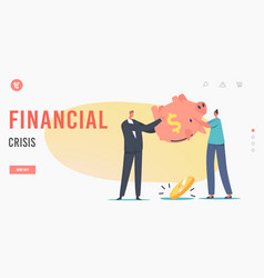 characters in financial crisis landing page vector image