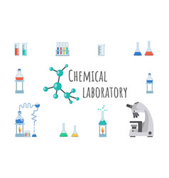 chemical laboratory equipment banner template lab vector image
