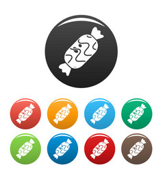 choco sweet icons set color vector image
