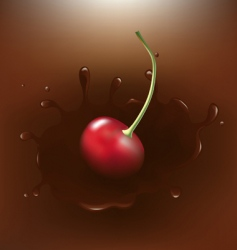 Chocolate dipped cherry vector