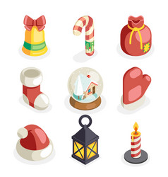 christmas isometric 3d icons set flat cartoon vector image