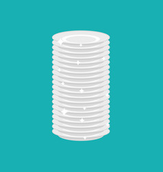 clean plates stack isolated fresh dishes vector image