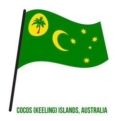 Cocos keeling islands cc flag waving on white vector