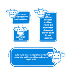 collection of quote with cow for milk products vector image