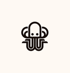 creative professional trendy octopus line logo vector image