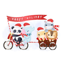 cute animals parade for christmas vector image