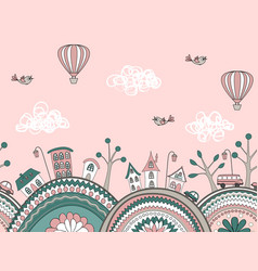 Cute doodle seamless pattern city hills vector