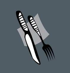 cutlery knife and fork on table vector image
