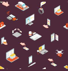 digital medicine seamless pattern background 3d vector image