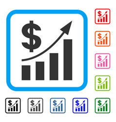 dollar bar chart trend framed icon vector image
