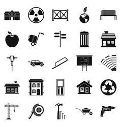 Earthwork icons set simple style vector