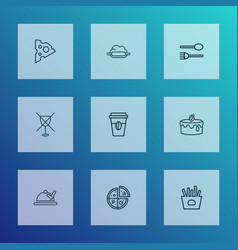 eating icons line style set with takeaway coffee vector image