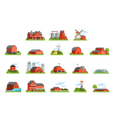 Farm house and constructions set agriculture vector