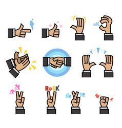 flat cartoon hand gesture vector image